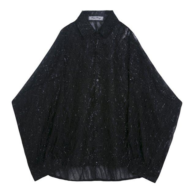 FINDSENSE 2019 秋季上新 G7 時尚宮廷風個性透視寬鬆素面條紋長袖襯衫 男裝