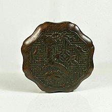 【古珍品】  酸枝木雕如意紋葵口型蓋盒