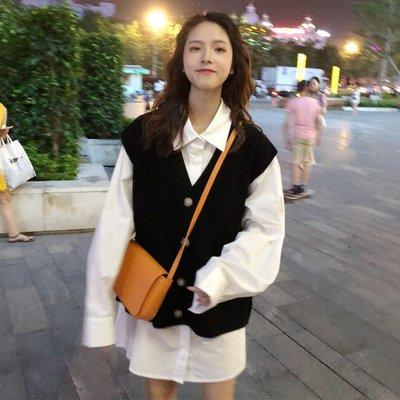 套裝 兩件套 中長款 連身裙 洋裝女神時尚套裝韓版秋季中長款長袖襯衫+毛衣開衫馬甲外套女兩件套