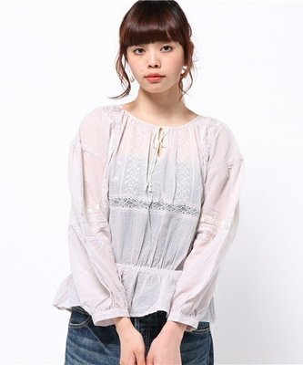 [日本購入] 全新轉賣 Par Avion 粉紫色刺繡縮腰上衣 SM2/Crisp/kastane