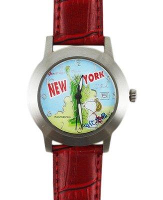 【卡漫迷】 史奴比 手錶 皮革 紅色 ㊣版 史努比 男錶 女錶 自由女神 紐約 卡通錶 Snoopy 原價打七折 出清