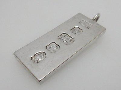 小 西 洋 ☪ ¸¸.•*´¯` 1977年英國Sheffield雪菲爾德半盎司純銀塊墜子/鑰匙圈吊飾Ingot-3