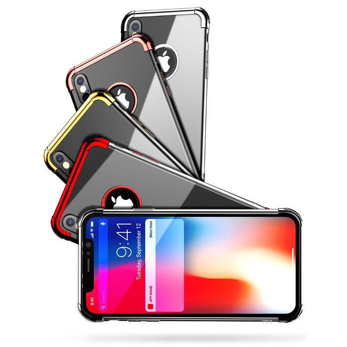 最新款iPhoneX/8/8+/7/7+蘋果三段式金屬電鍍防摔手機保護殼(魅力紅)