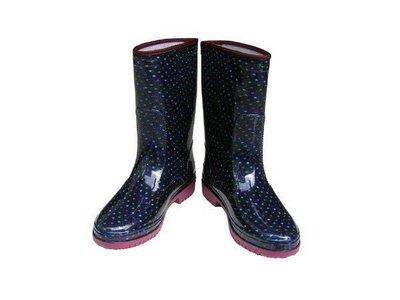 雨靴 皇力牌-高級彩色女用雨鞋(籃點)時尚雨鞋【同同大賣場】-台灣製