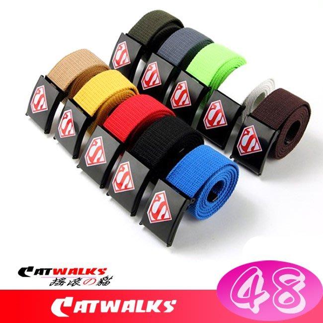 台灣現貨  * Catwalk's 搖滾の貓 *  美式嘻哈風超人 S Logo 帆布腰帶 ( 紅、黃、藍、卡其、黑、白