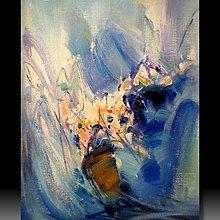 【 金王記拍寶網 】U979  朱德群 款 抽象 手繪原作 厚麻布油畫一張 罕見 稀少 藝術無價~