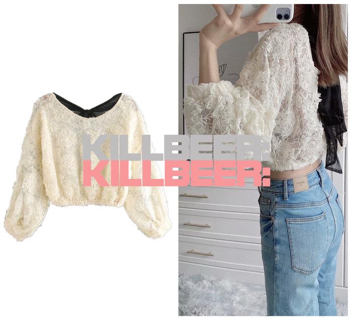 KillBeer:仙女是怎樣煉成的之 歐美復古洛可可性感典雅重工藝立體玫瑰蕾絲後綁帶短版上衣A080207