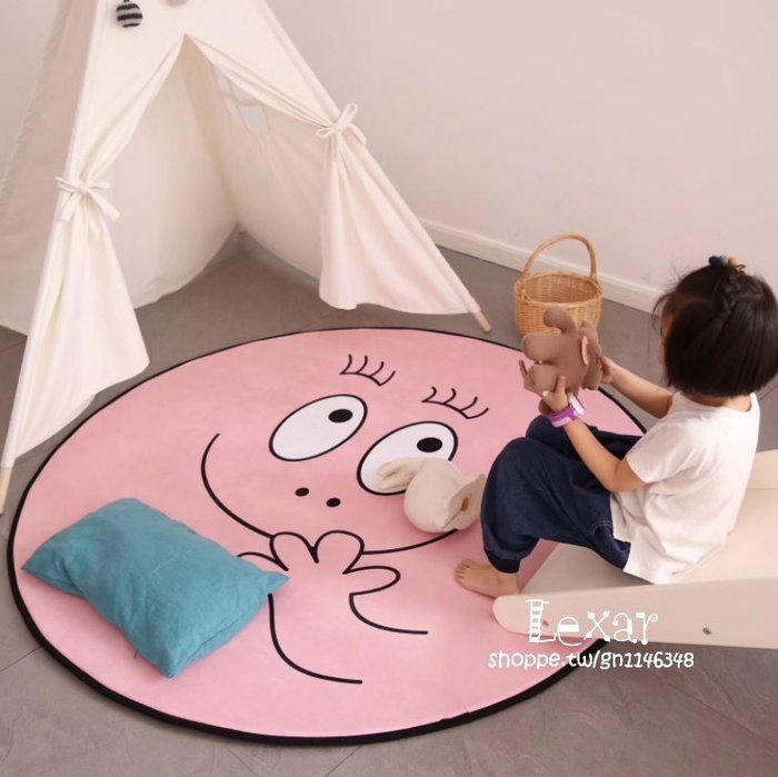 秋冬加厚可愛巴巴爸爸圓形粉色地墊帳篷鞦韆地墊泡泡先生