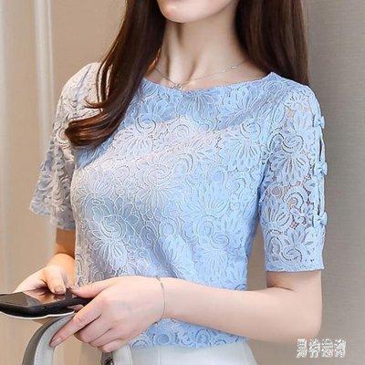 哆啦本鋪 短袖蕾絲衫夏裝2019新款超仙甜美百搭上衣T恤女小衫 2884D655