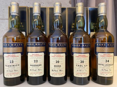 Rare Malts  Brora. Rosebank . Royal Lochnagar.Teaninich