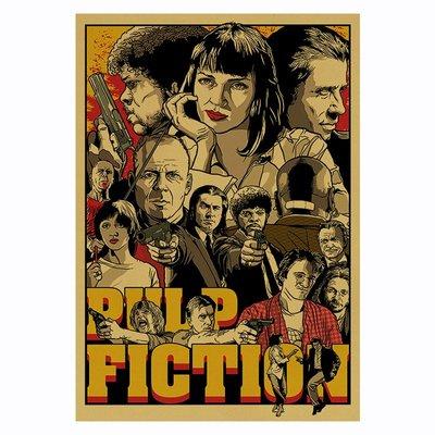 [現貨]黑色追緝令 人物合集 Pulp Fiction  低俗小說 美國黑色幽默犯罪片 牛皮紙 懷舊復古 海報 酒吧餐廳