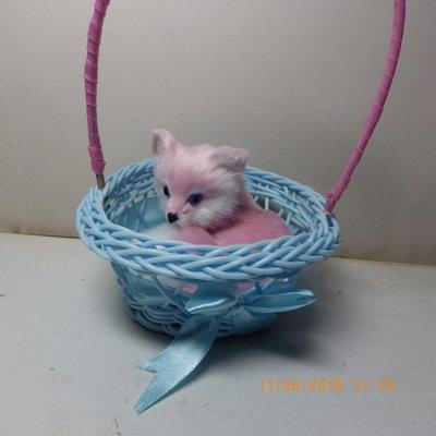 紫晶宮***仿真可爱小狐狸粉紅色藍提藍狐狸摆件***品質保證價格便宜