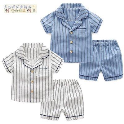 ~多妙屋~男童短袖套裝夏兩件套新款韓版夏裝寶寶休閒家居服兒童空調服