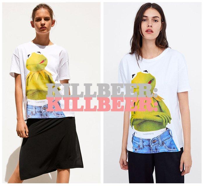 KillBeer:貪心女孩的新風格之 歐美復古DISNEY合作款Muppets蛙蛙印花棉質短T恤上衣061604