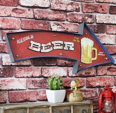 美式街頭潮流復古摩登LOFT工業風LED燈牌壁燈招牌 鐵製仿舊個性裝飾Beer BAR啤酒杯燈排 壁飾小夜燈鐵皮畫啤酒吧