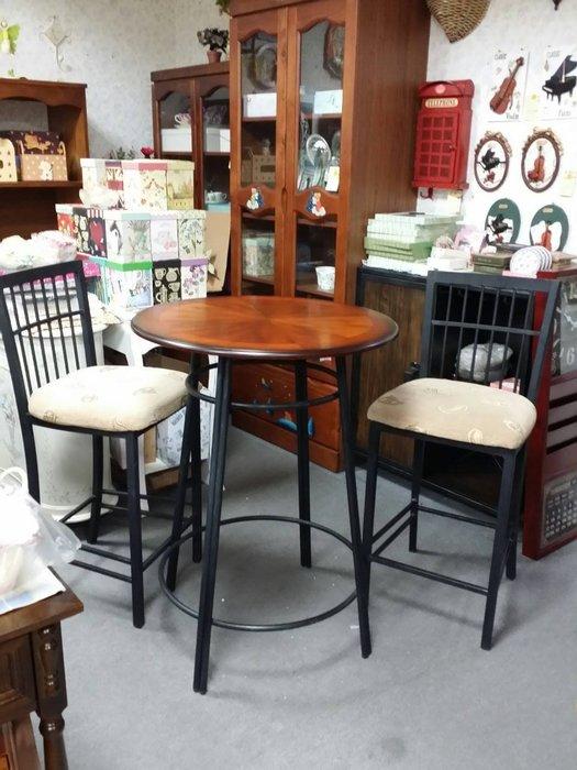 OUTLET限量低價出清-古典鍛鐵- 蘿莎 鍛鐵 吧台桌椅組 ( 一桌二椅 ) -- 促銷 優惠9500元