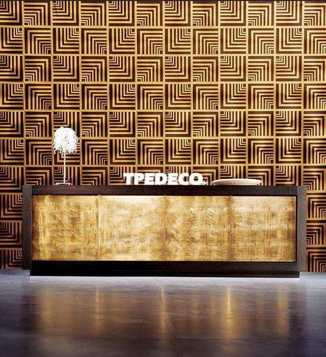 【大台北裝潢】CY國產現貨壁紙* DIAMOND 現代幾何 黑底金線格 每支580元