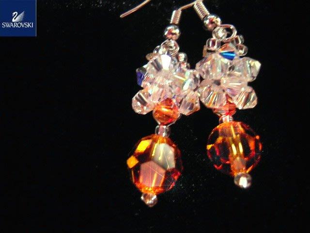 ※水晶玫瑰※ SWAROVSKI 地球珠水晶 耳勾式耳環(DD387)