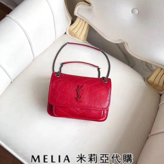 Melia 米莉亞代購 歐洲代購 Saint Laurent YSL 18ss 8月新品 復古鍊條皺褶包 MIN包 紅色