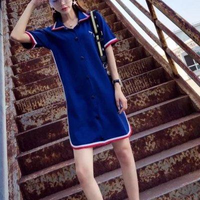 *:.ღ 2019 韓國新款時尚限定~歐洲站polo領短袖ins超夯休閒學生T恤短裙 ღ.:*