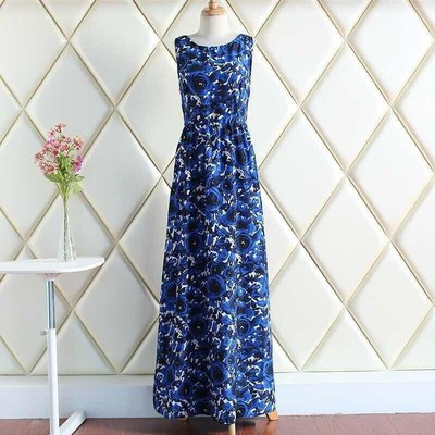 yes99buy(春暖花開)歐美印花氣質長洋裝 不配腰帶 預購七天