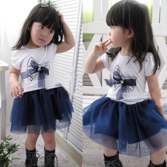韓版《藍色蝴蠂結》紗裙~小洋裝(J2-2)