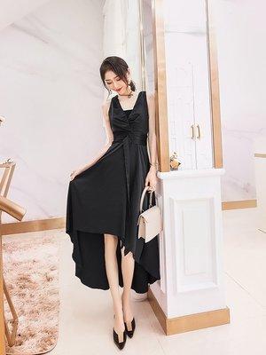 連身裙 套裝 夏裝 性感潮流法國黑色egg山本風v領裙子女無袖氣質大裙擺赫本連衣裙