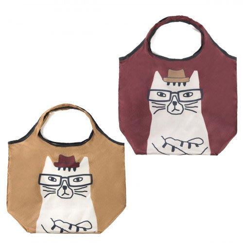 Hanna 日本雜貨本舖 ~ kusuguru 眼鏡貓咪 盯妳看 環保 購物袋 手提袋 簡單設計好收納 小巧尺寸剛剛好