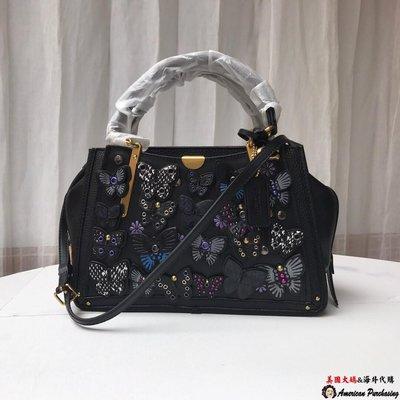 美國大媽代購COACH69553 黑色 新款Dreamer系列手提包 蝴蝶貼花圖案 單肩斜背包 側背包  美國代購