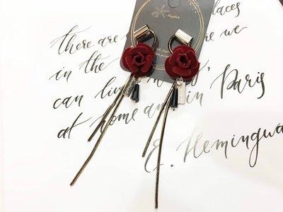 【海星 Starfish】沉醉之夜 酒紅玫瑰質感黑金流蘇時尚造型耳環