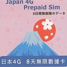 日本上網卡 8日無限上網 DoCoMo 8days unlimited 4G LTE Japan data sim card