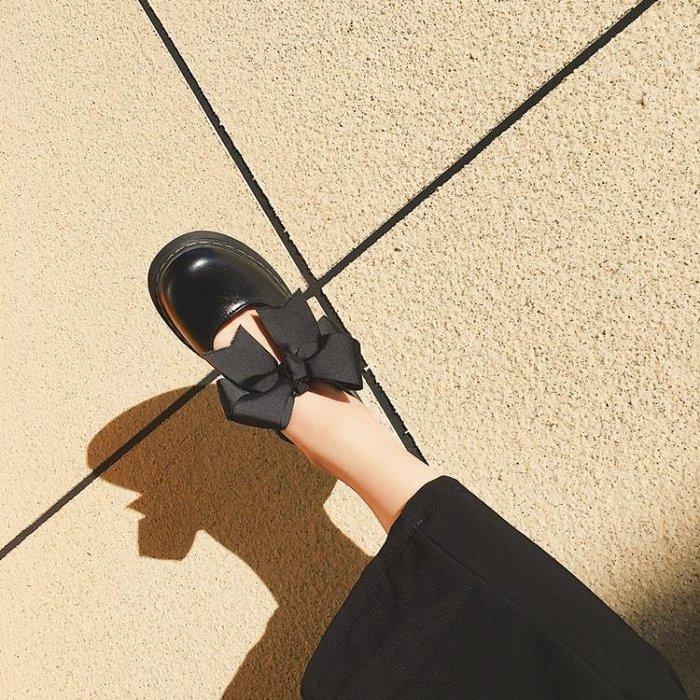 日系原宿學院軟妹Lolita鬆糕厚底鞋圓頭蝴蝶結娃娃鞋少女小皮鞋