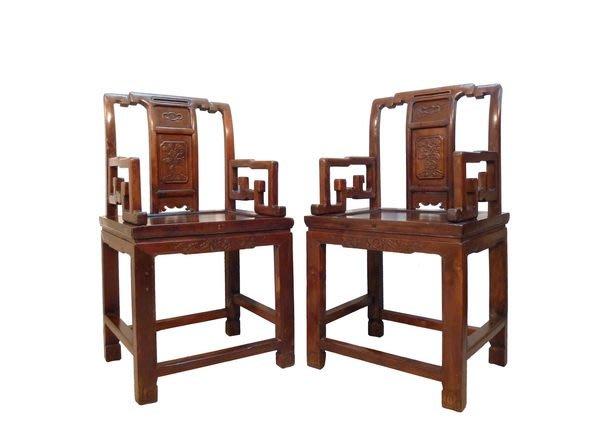 【景徽軒古傢俬】~~~ (老件) 蘇作榨榛木太師椅一對  K992