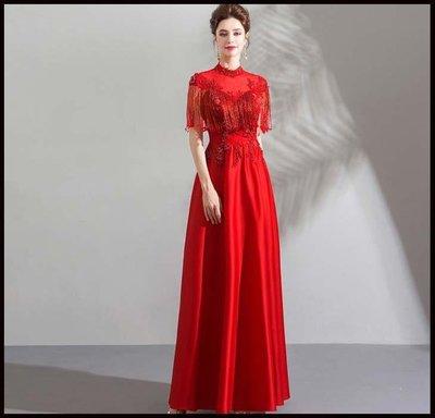 哆啦本鋪 天使嫁衣 時髦風 水晶流蘇 古典紅色新娘婚紗禮服旗袍敬酒服D655