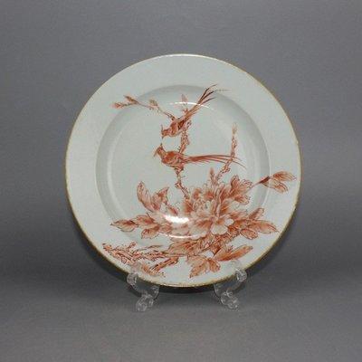 ㊣三顧茅廬㊣ 清礬紅畫花鳥盤釉上彩細工古玩古董收藏