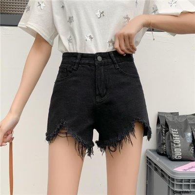 One fifth◊ .. [S-5XL]新品大碼牛仔短褲女高腰寬鬆舒適A字闊腿熱褲QC230