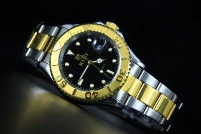168錶帶配件 /歐風潮流中金黑遊艇yacht-master造型全不鏽鋼製石英錶,備有日期
