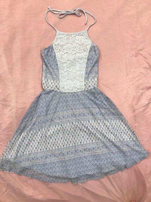 【天普小棧】AF A&F Abercrombie&Fitch Skater Dress雪紡紗繞頸綁帶洋裝XS