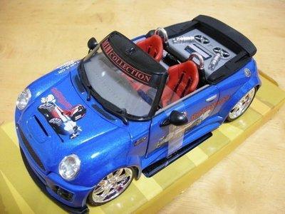 EXTREME TUNER 汽車 展示 模型 玩具 改裝車 DIE-CAST 1:24 BMW MINI COOPERS 敞篷車 藍色