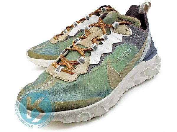 NIKE REACT ELEMENT 87 UNDERCOVER 聯名合作 淺卡其 灰白底 透明鞋 BQ2718-300
