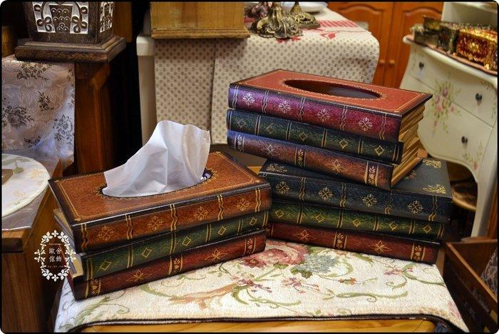 木製描金書本面紙盒 歐式古典風 假書桌上型紙巾盒衛生紙架收納餐廳房間擺飾陳列居家客廳送禮生日父親節禮品送禮【歐舍傢飾】