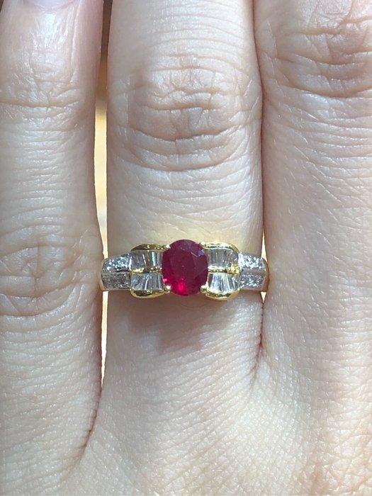 68分天然紅寶石鑽石黃K金戒指,寶石鮮紅漂亮,鑽石白亮,簡單華麗款式適合平時配戴,精選商品18800元