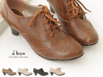 格子舖*【KIW6650】MIT台灣製 英倫牛津皮質素面綁帶式粗跟超舒適 5.5CM粗中跟 踝靴 短靴 5色