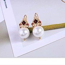 仿紅寶珍珠耳環