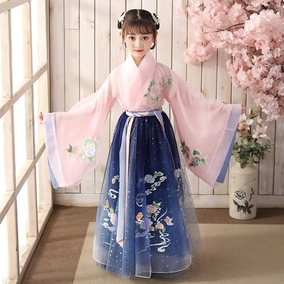 漢服女童古裝超仙連衣裙兒童唐裝中國風襦裙12歲女孩仙女輕紗夏裝