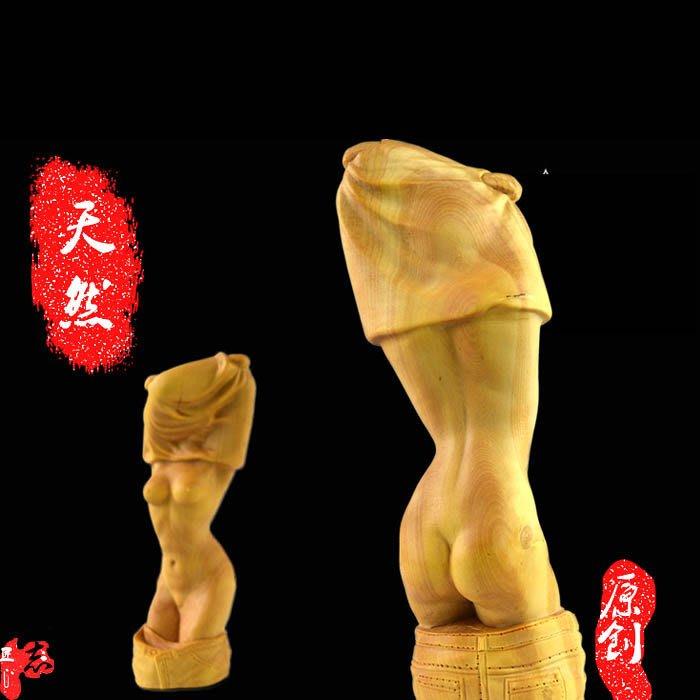 旦旦妙 樂清楊木雕居家擺件商務情人節禮物收藏把玩雕刻人體藝術美女 醬誌30