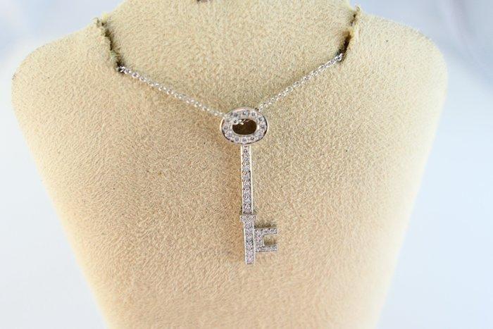 [吉宏精品交流中心]TIFFANY&CO. 蒂芬妮 PT950白金 鑰匙 原鑲鑽石 項鍊