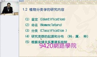 【9420-1008】植物分類學(Plant Taxonomy)  教學影片-( 25 講 ),  326 元!