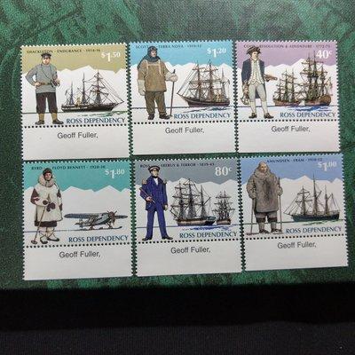 【大三元】紐澳郵票-036紐西蘭 羅斯屬地-早期船.飛機-新票6全1套帶邊紙-原膠上品