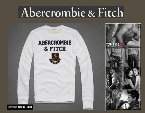 有型男~ A&F Abercrombie&Fitch 2013 老版厚棉長T white 白學院風 現貨  XL